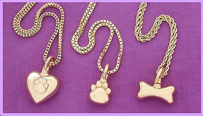 gold bone pet cremation memorial jewelry