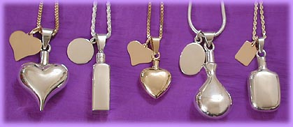 cremation urn pendant / memorial jewelry combinations