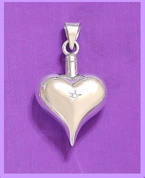 Diamond Heart urn cremation pendant