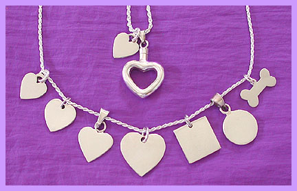 silver pet memorial jewelry tags